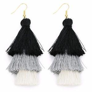 Black / Gray / White Ombré Tassel Earrings!